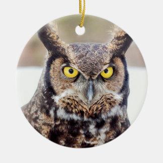 Great horned owl portrait ceramic ornament