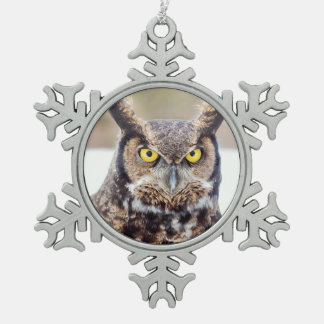 Great horned owl portrait snowflake pewter christmas ornament