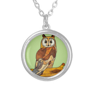 Great Horned Owl Round Pendant Necklace