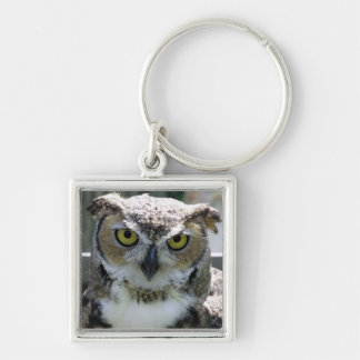 Great Horned Owl Silver-Colored Square Keychain