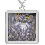 Great Horned Owl Silver Plated Necklace