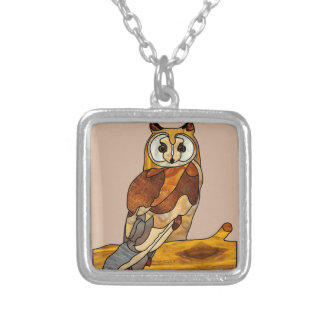 Great Horned Owl Square Pendant Necklace