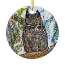 Great Horned Owl Staring Ceramic Ornament