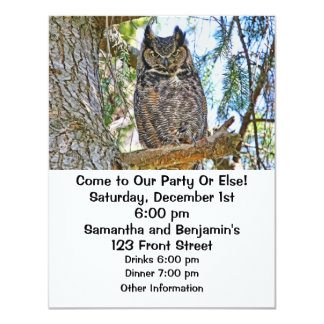 """Great Horned Owl Staring 4.25"""" X 5.5"""" Invitation Card"""