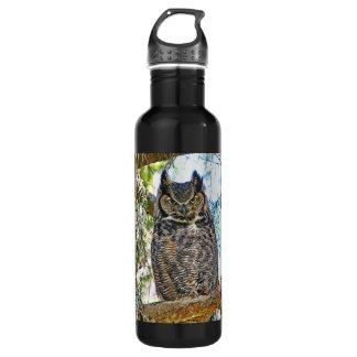 Great Horned Owl Staring Water Bottle