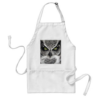 Great Horned Owl Tiger Owls Charcoal Drawing Adult Apron