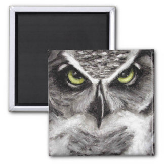 Great Horned Owl Tiger Owls Charcoal Drawing 2 Inch Square Magnet