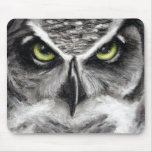 Great Horned Owl Tiger Owls Charcoal Drawing Mousepads