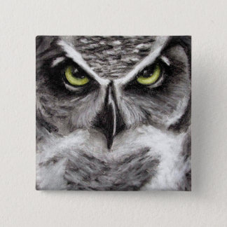 Great Horned Owl Tiger Owls Charcoal Drawing Pinback Button
