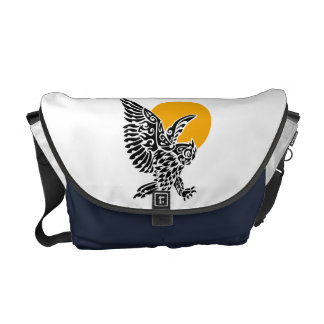 Great horned owl tribal tattoo courier bag