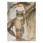 Great Horned Owl under Moon Print