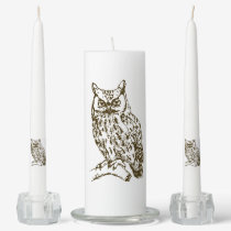 Great Horned Owl Unity Candle Set