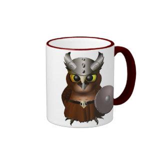 """""""Great Horned Owl"""" Viking Helmet Owl Ringer Coffee Mug"""