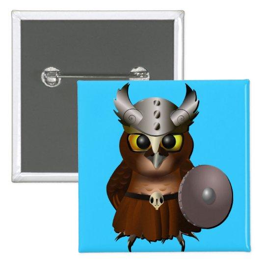 """""""Great Horned Owl"""" Viking Helmet Owl Pinback Button"""