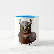 """Great Horned Owl"" Viking Helmet Owl Two-Tone Coffee Mug"