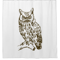 Great Horned Owl White Shower Curtain