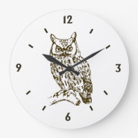 Great Horned Owl with Numbers Large Clock