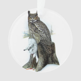 Great Horned Owl with snow hare rabbit Painting
