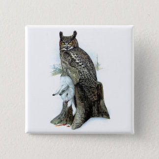 Great Horned Owl with snow hare rabbit Painting Button