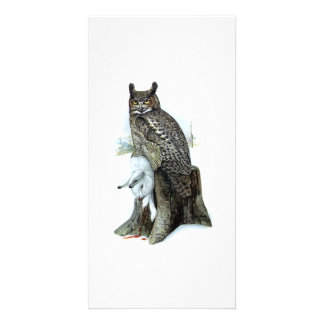 Great Horned Owl with snow hare rabbit Painting Card