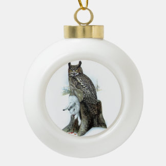 Great Horned Owl with snow hare rabbit Painting Ceramic Ball Christmas Ornament
