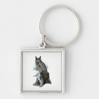 Great Horned Owl with snow hare rabbit Painting Keychain