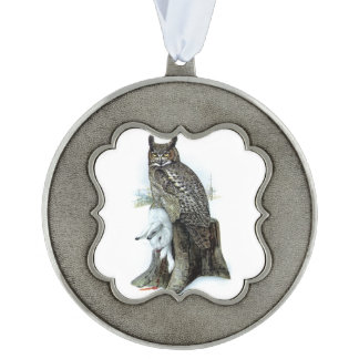 Great Horned Owl with snow hare rabbit Painting Pewter Ornament