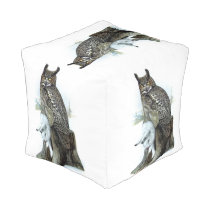 Great Horned Owl with snow hare rabbit Painting Pouf