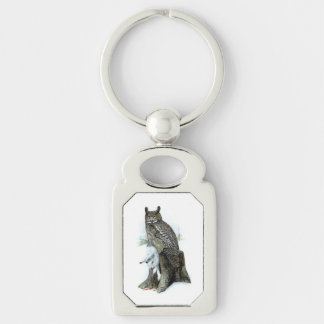 Great Horned Owl with snow hare rabbit Painting Silver-Colored Rectangular Metal Keychain