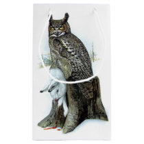 Great Horned Owl with snow hare rabbit Painting Small Gift Bag