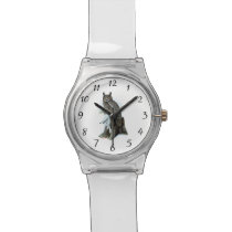 Great Horned Owl with snow hare rabbit Painting Wristwatch
