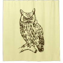 Great Horned Owl Yellow Shower Curtain