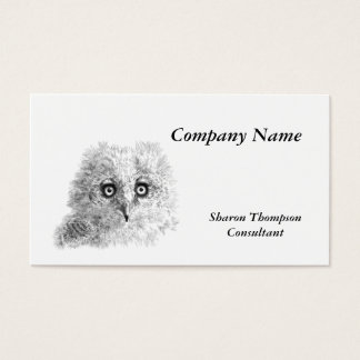 Great Horned Owlet Drawing Business Card