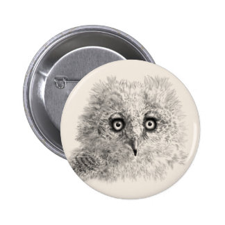 Great Horned Owlet Drawing Button