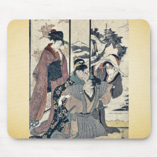 Great house cleaning by Kitagawa,Utamaro Mouse Pads