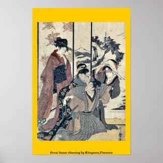 Great house cleaning by Kitagawa,Utamaro Poster