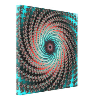 Great Hypnotic Swirl - black, bordeaux, turquoise Stretched Canvas Prints