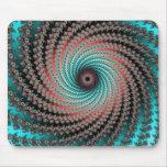 Great Hypnotic Swirl - black, bordeaux, turquoise Mousepad