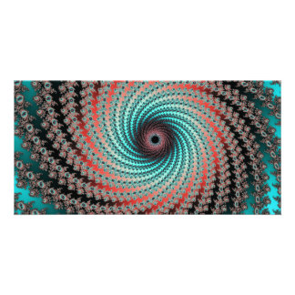 Great Hypnotic Swirl - black, bordeaux, turquoise Photo Card