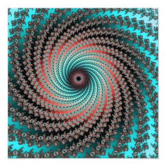 Great Hypnotic Swirl - black, bordeaux, turquoise Photo Print