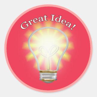great idea bulb classic round sticker