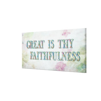 Great Is Thy Faithfulness Fancy Floral Alphabet Canvas Print