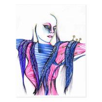 faith, artsprojekt, woman, girl, female, art, drawing, fine, original, spiritual, religious, Postcard with custom graphic design