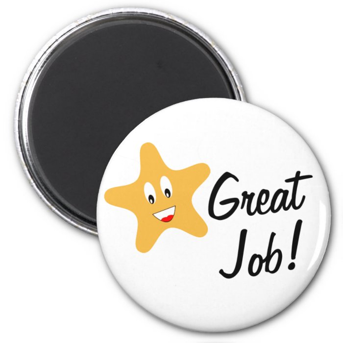 Great Job Gold Star 2 Inch Round Magnet