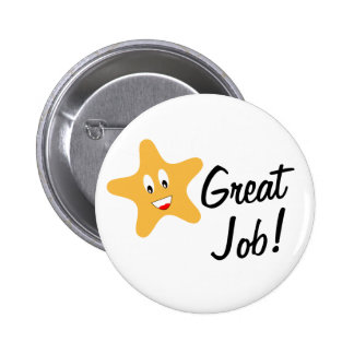 Great Job Gold Star Pinback Button