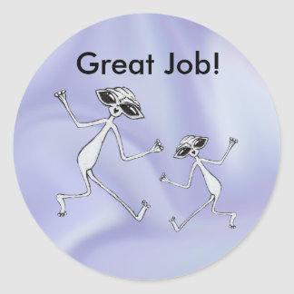 Great Job Jumping Aliens Classic Round Sticker