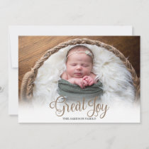 Great Joy Trendy Photo Christmas Holiday Card