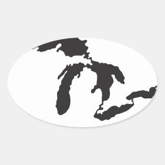 Great Lakes Custom Illustration Oval Sticker