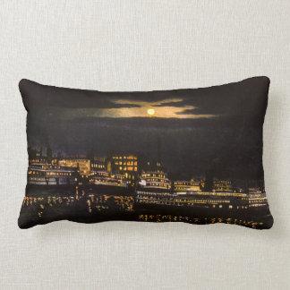 Great Lakes Detroit at Night Bob Lo Boats Vintage Lumbar Pillow