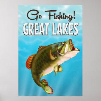 Great Lakes fishing vintage travel poster